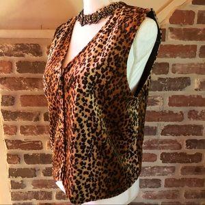 😮 Leopard vest,Faux fur vest,Boho vest,Vintage